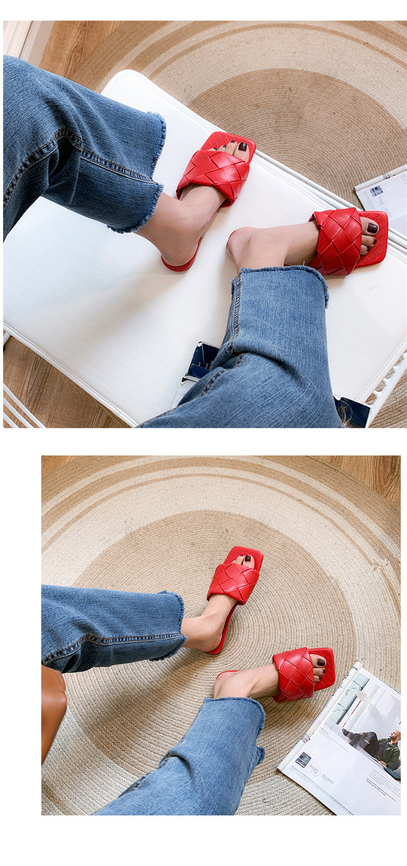 Fashion Woven Slippers Women Open Toe Square Toe Ladies Flat Sandals Outside In Summer Slides Shoes Woman Slippers Large Size 40 (16)