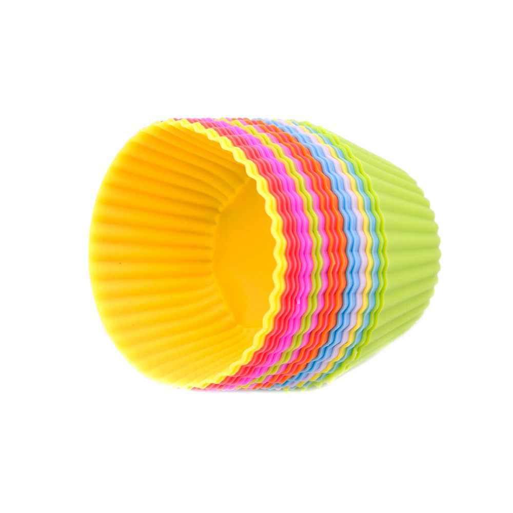 1PC wielokrotnego użytku silikonowa forma do pieczenia ciasta kuchnia gotowanie narzędzia okrągłe Cupcake Maker forma do muffinek do pieczenia losowy kolor