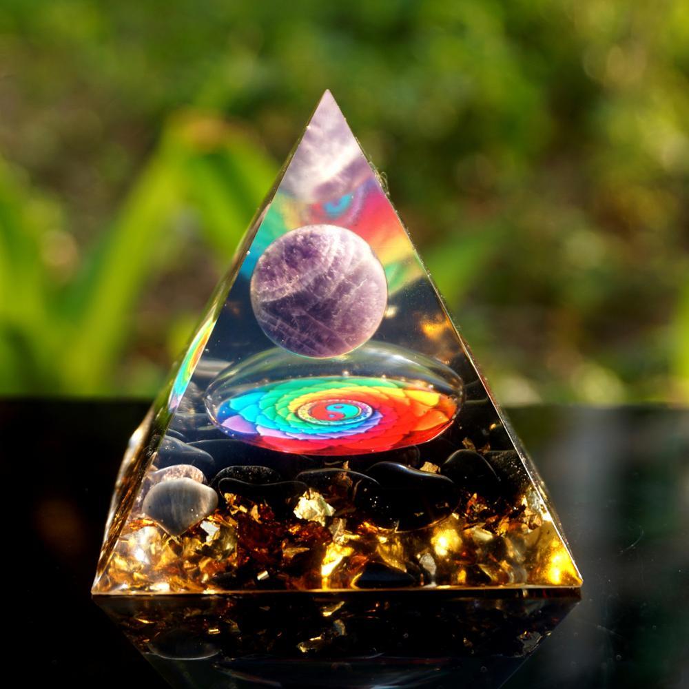Esfera de cristal ametista artesanal orgone com pirâmide de cristal obsidiana 60mm