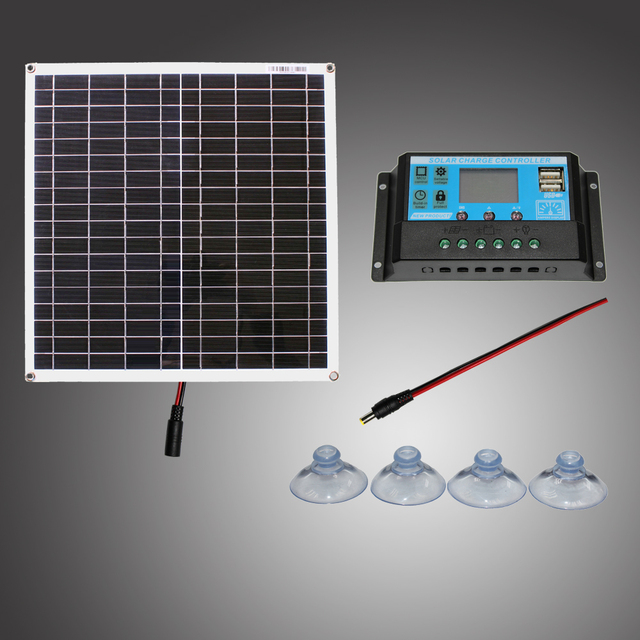 RG  18V 20w 40w 100Wsolar panel kit Transparent flexible Monocrystalline solar cell DIY module outdoor connector DC 12v charger