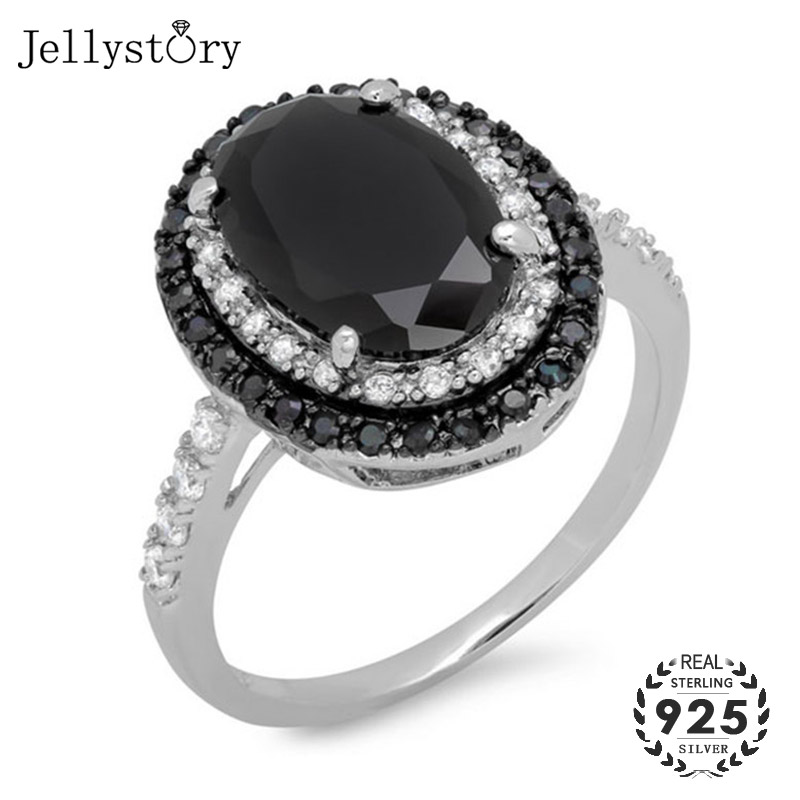 Jellystory Classic Silver 925 Rings with Oval Shape Obsidian Gemstones Fine Jewelry Ring for Women Wedding Party Gifts wholesale