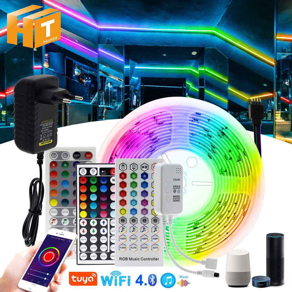 LED Strip Light RGB 5M 10M 20M Tuya Smart RGB Color Changeable Flexible LED Light Bluetooth Music Control RGB LED Tape.