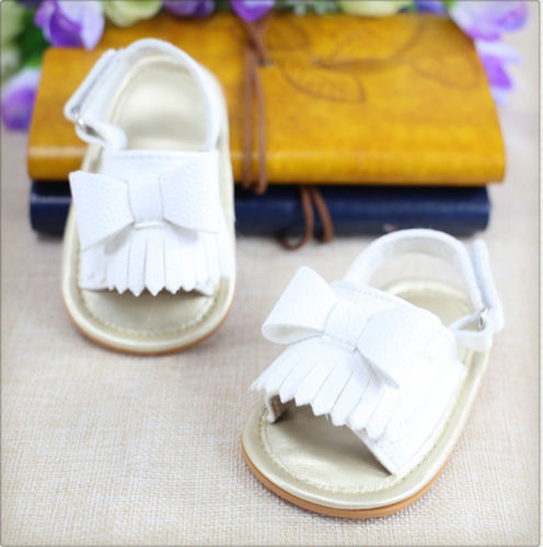 Newborn Baby Shoes Summer Baby Sandals Newborn Baby Bowknot Tassel PU Toddler Princess Girl Kids