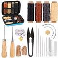 KAOBUY 28PCS Leder Nähen Kit Mit Große-Auge Nähte Nadeln, Gewachst Gewinde, leder Nähen Werkzeuge Für DIY Leder Handwerk