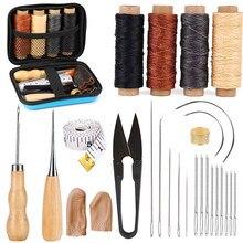 KAOBUY 28 sztuk skórzane zestaw do szycia z wielkie oko szwy igły, woskowana nić, skóra przyrządy do szycia dla DIY skóra Craft