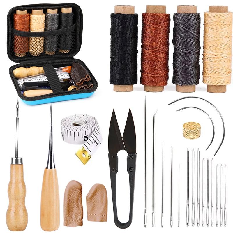 Kaobuy 28Pcs Leer Naaien Kit Met Grote-Eye Stiksels Naalden, Gewaxt Draad, leer Naaien Gereedschap Voor Diy Leather Craft