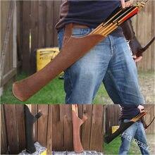 Seta quiver na cor preta ombro-back design feito de couro puro para tiro com arco de caça
