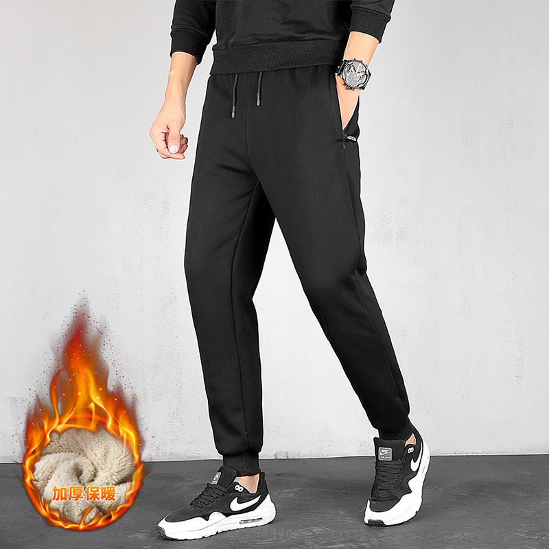 Men Pants New and Leisure Velvet Trousers Men's Solid Color Jogging Casual Pants Men Plus Skinny Winter Pants Male Fashion M-5XL