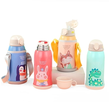 Children's Thermos Mug Large Capacity Baby New Suction Cup Water Cup Stainless Steel Strap Kettle Water Bottle Insulated Cup russian large capacity insulated stainless steel bottle outdoor portable travel kettle car kettle