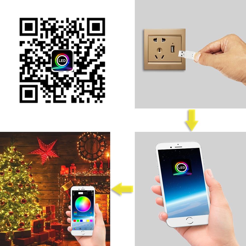 led string luz app controle usb led