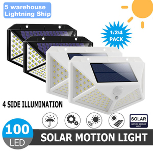 100LEDs Solar LED Wall Light Lamp Four-Sided Illumination Motion Sensor IP65 Outdoor Garden Path Alley Street Night Lighting(China)