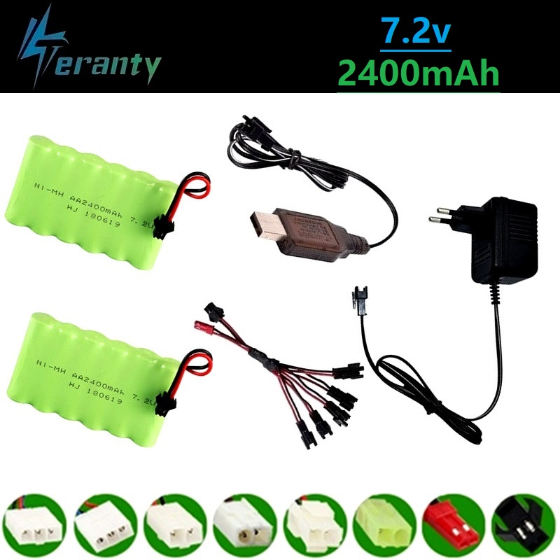 (SM Plug) Ni-MH 7.2v 2400mah Battery + 7.2v Charger For Rc Toy Car Tank Train Robot Boat Gun 5*AA 7.2v Rechargeable Battery Pack