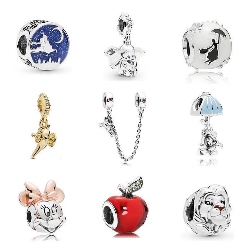 ใหม่ Original จัดส่งฟรี Sliver ชุบลูกปัด Mickey Fairytale Dumbo Love Charm Fit Pandora สร้อยข้อมือสร้อยคอ DIY ผู้หญิงเครื่องประดับ