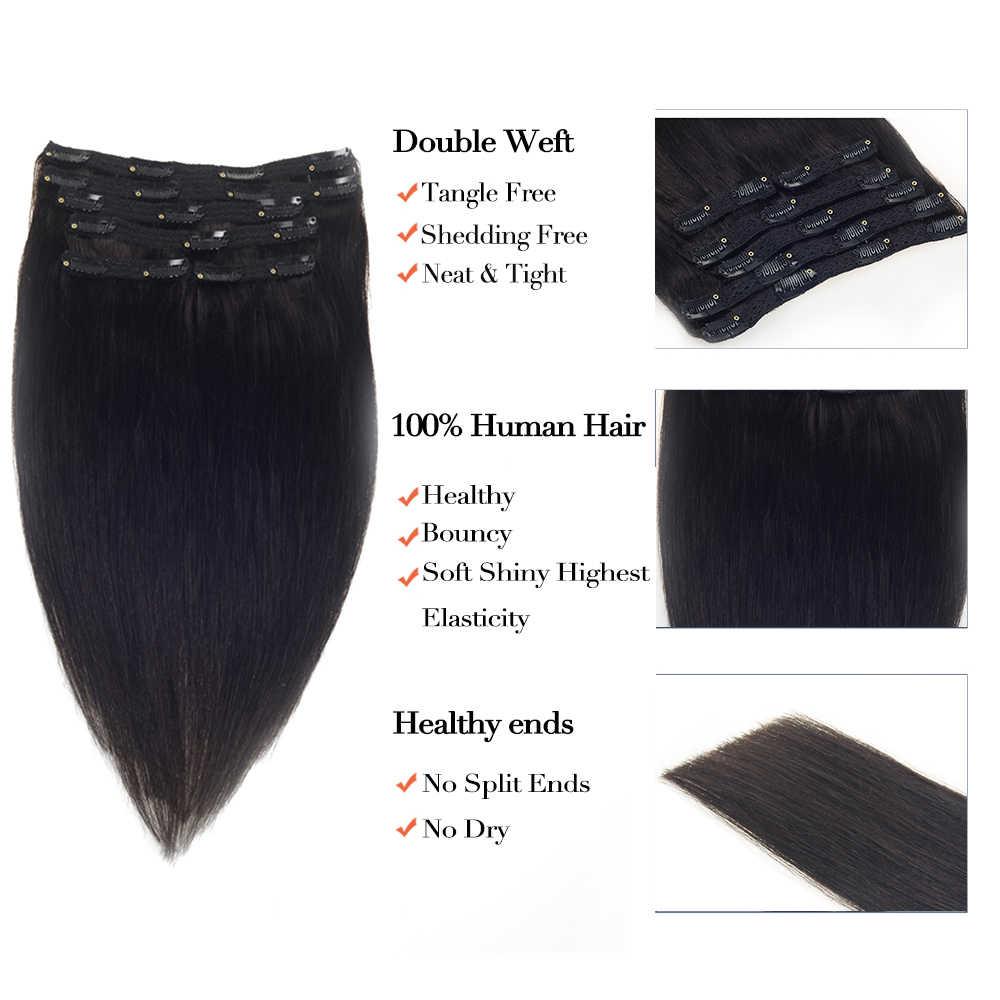 Grampo reto brasileiro de sindra em extensões do cabelo humano cabelo remy natural 100g 120g # 1b cor natural 14 polegadas-22 polegadas