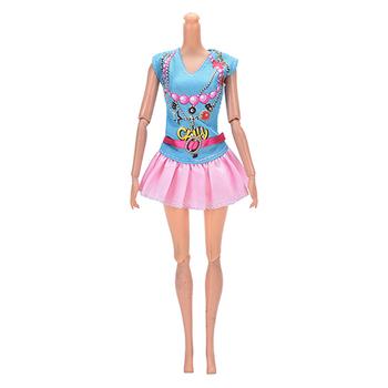 CosCosX 1 zestaw (koszula + spódnica) Party codzienny śliczny nowy strój na lato lalka modne ciuchy dla dzieci zabawki dla lalek akcesoria tanie i dobre opinie Tkaniny Dziewczyny Moda