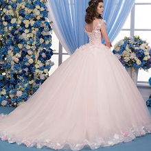 Ball-Gown Quinceanera-Dresses Birthday Sweet 15 Prom-Dress Flower Party Pink Plus-Size