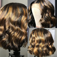 Highlights Colored Human Hair Wig with Baby Hair Natural Wave Lace Front Wigs Pre Plucked Glueless Short Bob 13x4 Lace Wig