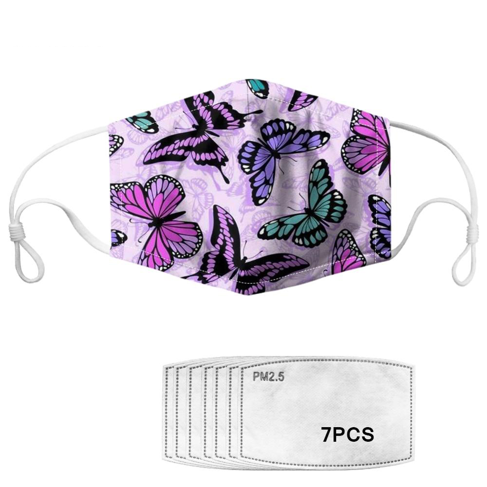 Beautiful Butterfly Pattern Women Mouth Mask With 7pcs Filters Elastic Dustproof Washable Adults Purple Face Mask