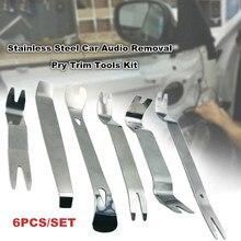 Outil de retrait intérieur de voiture 6 pièces, Clip de porte d'autoradio, panneau de garniture de tableau de bord, outil d'installation de retrait Audio