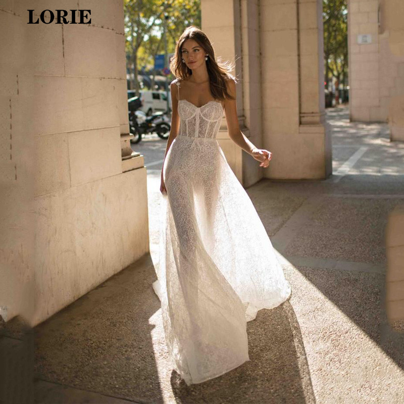 LORIE Lace Wedding Dress 2019 Spaghetti Straps Lace Vestidos De Novia Elegant Backless Boho Wedding Gowns