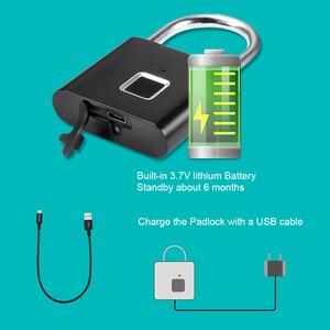 Image 3 - KERUIกันน้ำUSBชาร์จลายนิ้วมือล็อคกุญแจสมาร์ทล็อคลายนิ้วมือ0.1secปลดล็อคแบบพกพาAnti Theftล็อคลายนิ้วมือ