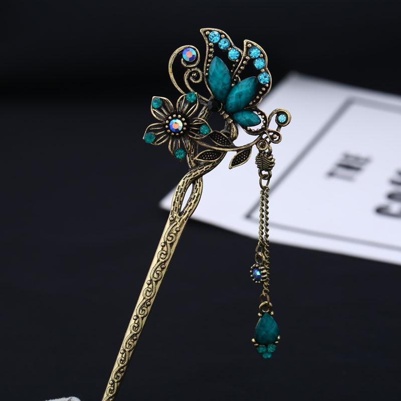 Vintage Rhinestone Butterfly Hair Stick Jewelry Wedding Hair Accessories Charm Metal Hairpins 1
