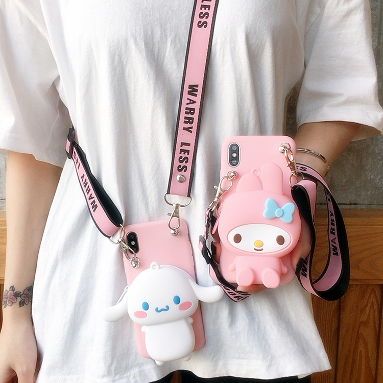 <font><b>Cute</b></font> 3D lanyard wallet Japan cat My Melody Soft Silicon <font><b>phone</b></font> <font><b>Case</b></font> for <font><b>Samsung</b></font> Galaxy S10 S7 S8 S9 Plus <font><b>note</b></font> 8 <font><b>9</b></font> 10 pink cover image