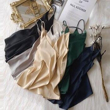 Summer Crop Top Women Camis Silk Satin Tank Top Women Camisole Sleeveless Vest Roupas Femin Cropped 2021 Croo top Binder Trans 1