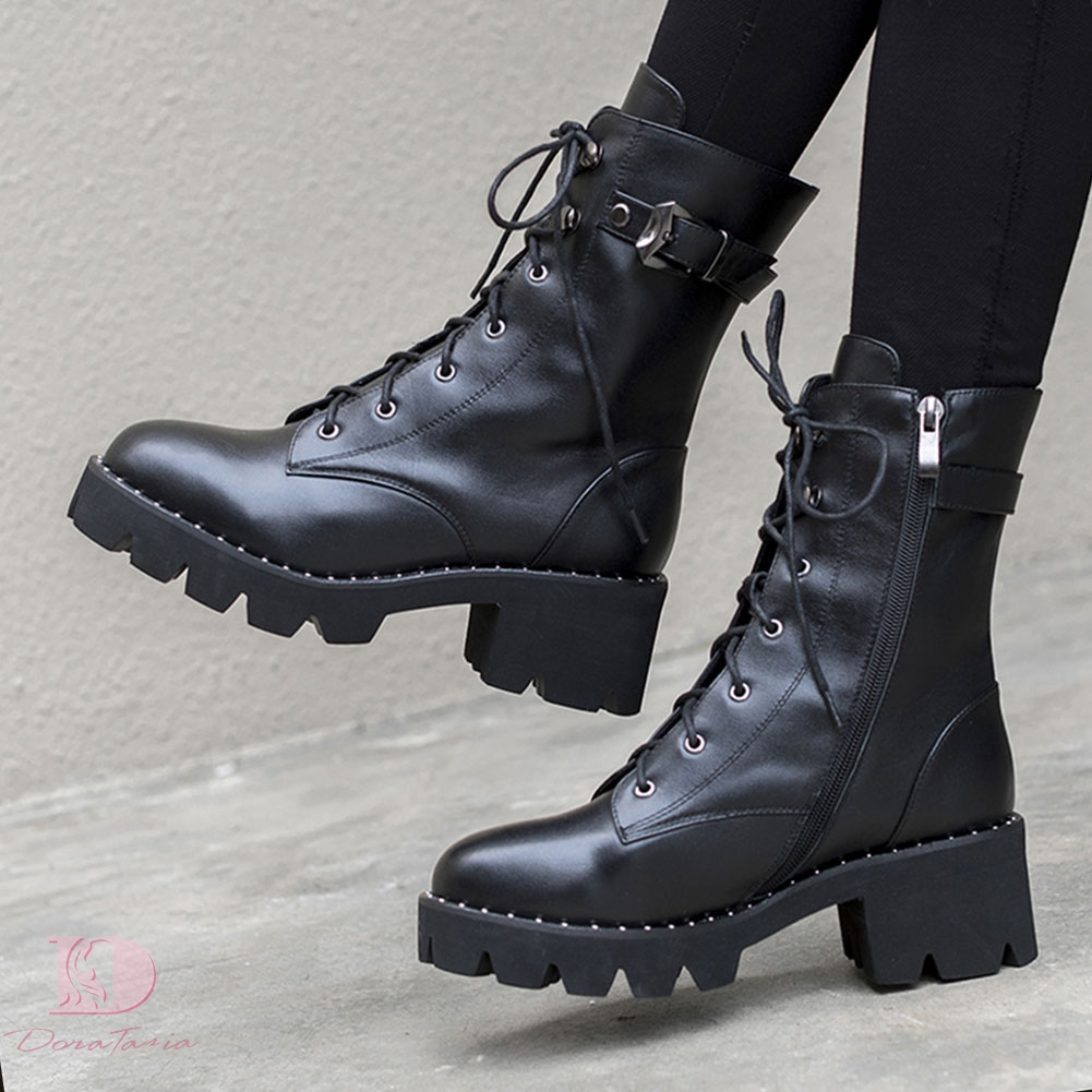 Doratasia 2019 Genuine Leather Large Sizes 43 Shoes Woman square Heel Cow Leather Ankle Boots female Shoes Woman boots Martin