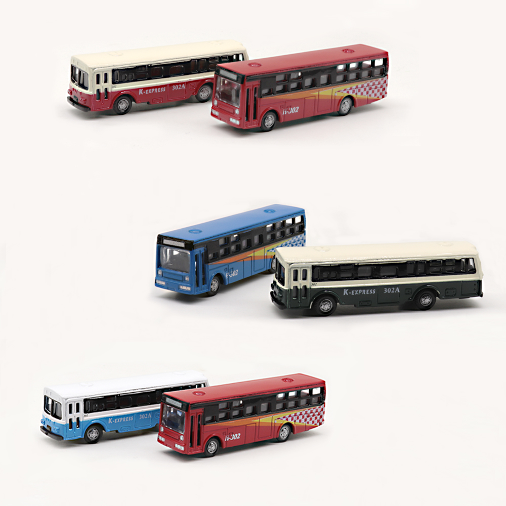 6pcs 1/150 Scale Architecture Bus Model Alloy Frame Cool Styling Vehicle Model Car For Kids Intelligence Development Toy Vehicle
