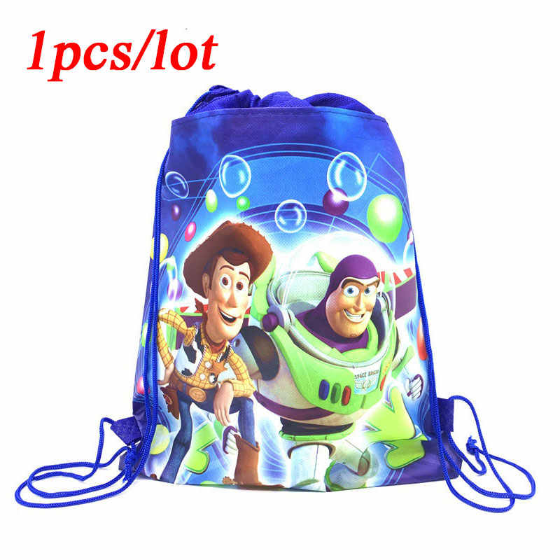 1pcs Birthday Party Disney Toy Story4 Theme Buzz Light Year School Backpack Baby Shower Kids Boys Favors Drawstring Gifts Bags