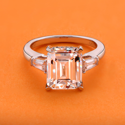 AINOUSHI 4 Carat Emeraled Cut Engagement Ring for Women Three Stones Rings 925 Sterling Silver Wedding Jewelry
