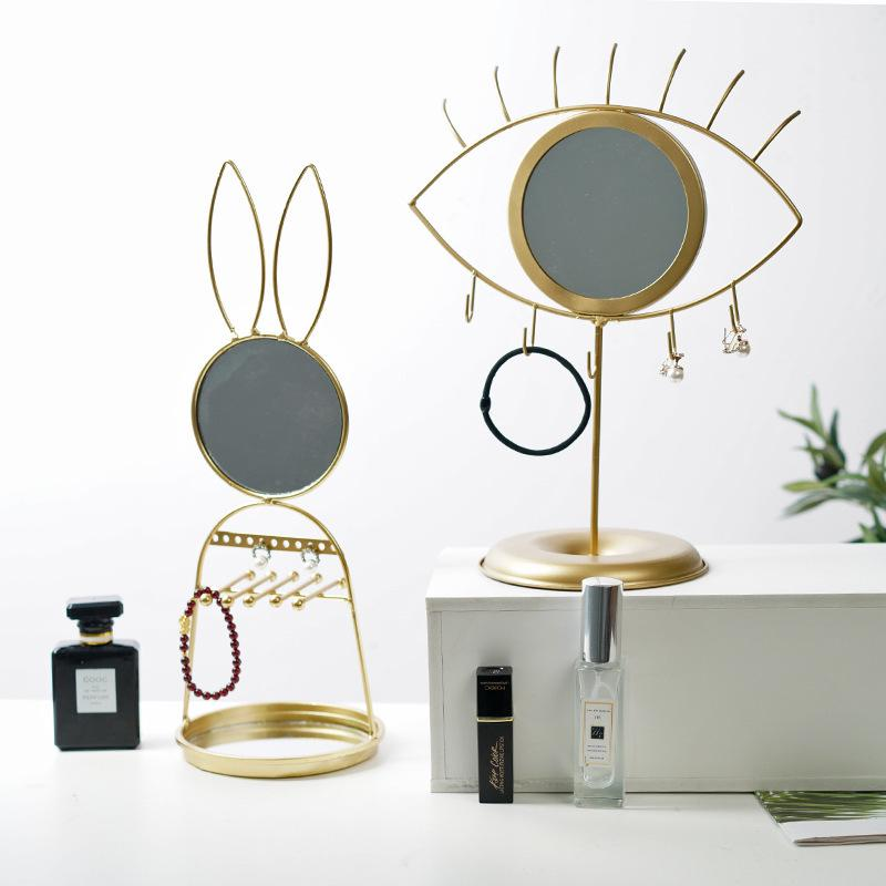 Nordic Rabbit Makeup Mirror Desktop Jewelry Storage Rack Earrings Bracelet Display Stand Lipstick Plate Home Table Decoration|Storage Holders & Racks|   - title=