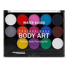 15 cores rosto corpo pintura a óleo seguro crianças flash tatuagem pintura arte halloween festa maquiagem vestido beleza paleta com escova kit