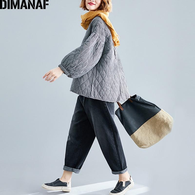 DIMANAF Plus Size Women Pullover Tops Autumn Winter Thick Cotton Clothing Loose Oversize Vintage Plaid Black
