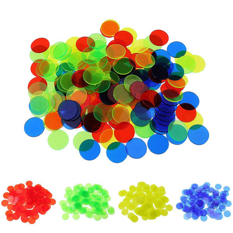 100Pcs 1.5cm Plastic Poker Chips Casino Bingo Markers For Fun Family Club Carnival Bingo Game 4 Colors