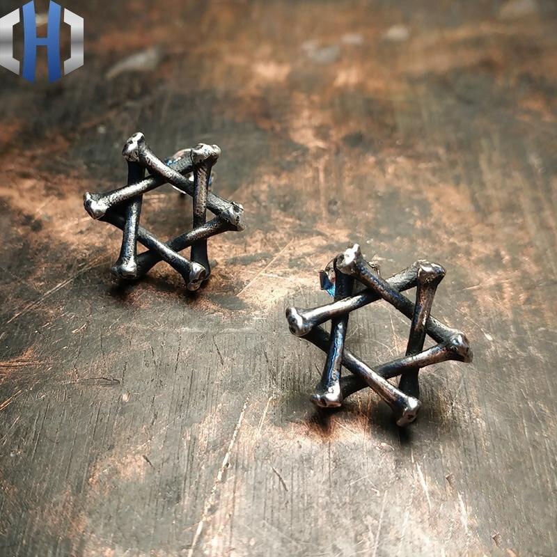 Boucles d'oreilles humérales faites à la main en argent Sterling 925 avec étoile à Six branches pour hommes et femmes - 3