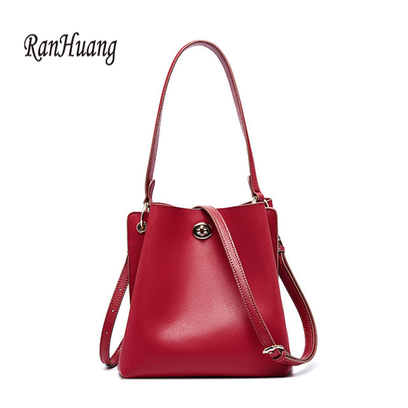 RanHuang 2019 Fashion Women's Genuine Leather Handbags High Quality Cow Leather Bucket Bags Luxury Shoulder Bags Messenger Bag