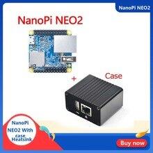 NanoPi NEO2 Allwinner H5, 64 бит с высоким уровнем производительности, четырехъядерный процессор A53 демонстрационная плата, бег, UbuntuCore с металлической Чехол комплект