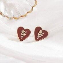 Vintage Cute Enamel Rose Heart Earrings for Women Retro Gold Color Metal Love Heart Shaped Big Drop Earrings Statement Jewelry недорого