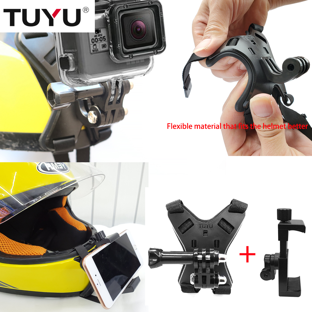 TUYU Full Face Helmet Chin Mount Holder for GoPro Hero 9/8/7/6/5 SJCAM Motorcycle Helmet Chin Stand for Gopro Camera Accessory-2