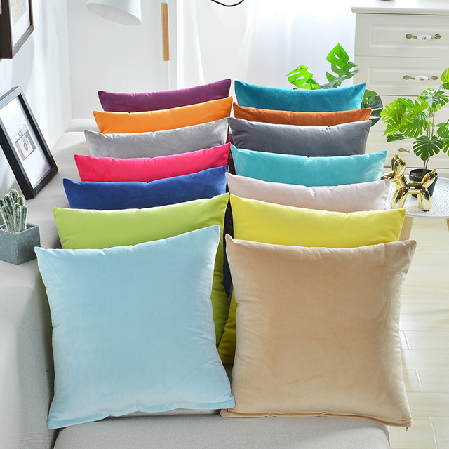 Solid Color Velvet Cushion Cover 2