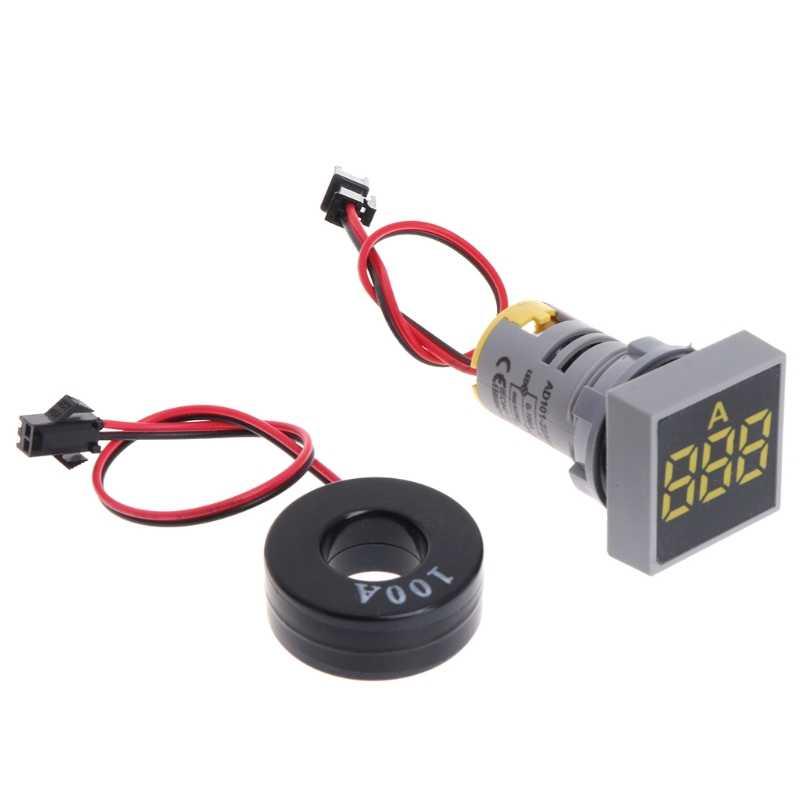 22 мм 0-100A цифровой амперметр индикатор Тока светодиодные лампы квадратный сигнал света Прямая поставка поддержка