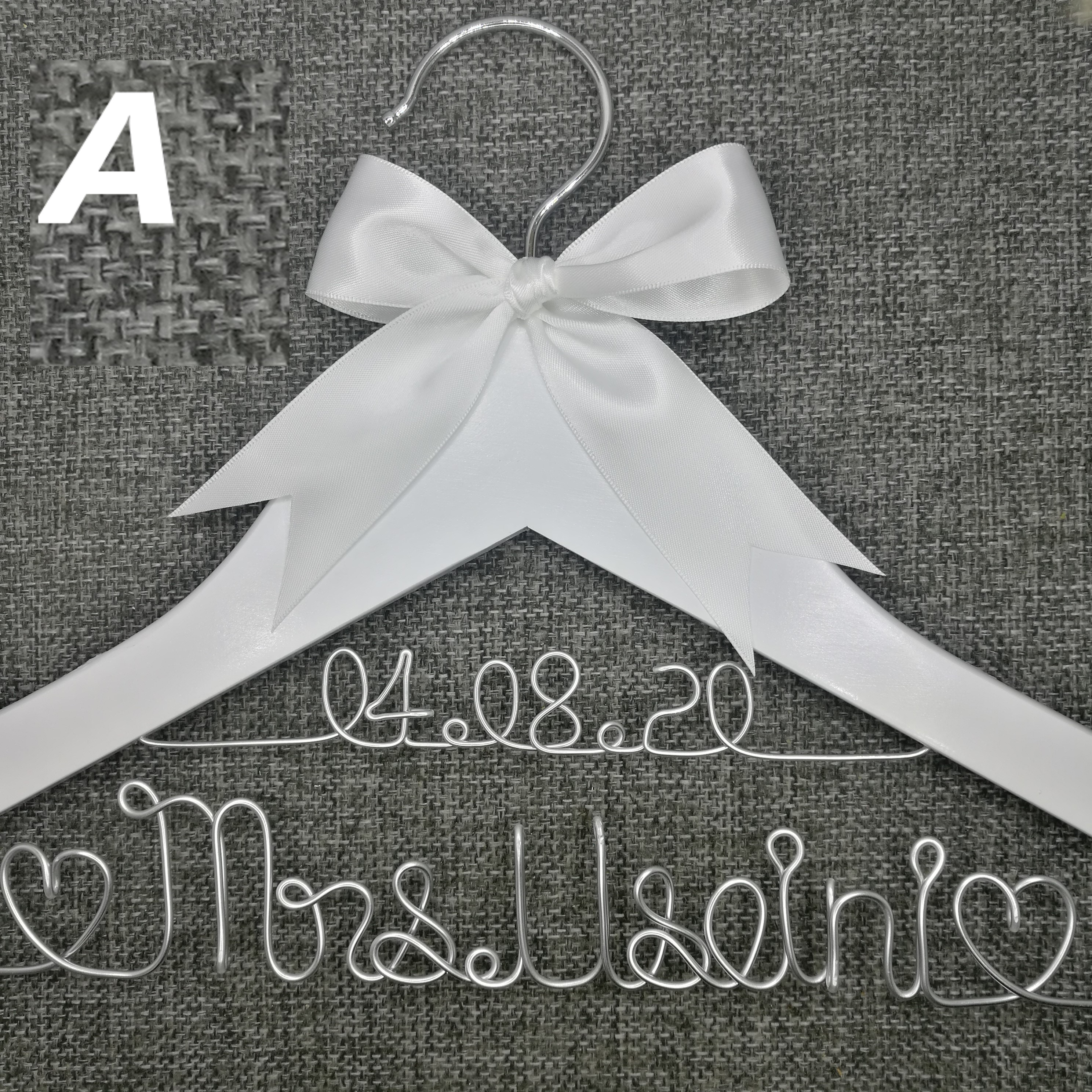 Personalized Wedding Hanger, Bridesmaid Gifts, Name Hanger, Brides Hanger Custom Bridal Gift White Hanger