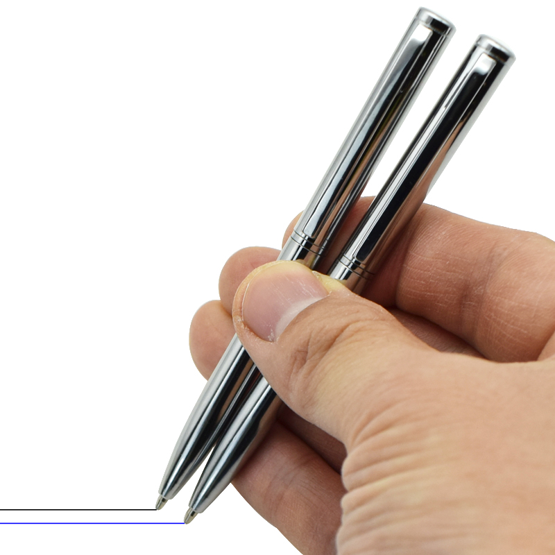 [해외] 미니 포켓 사이즈 금속 볼펜  검정색 파란색 잉크 작은 휴대용 회전 모드 기록  언제든지 2 개 - 미니 포켓 사이즈 금속 볼펜  검정색