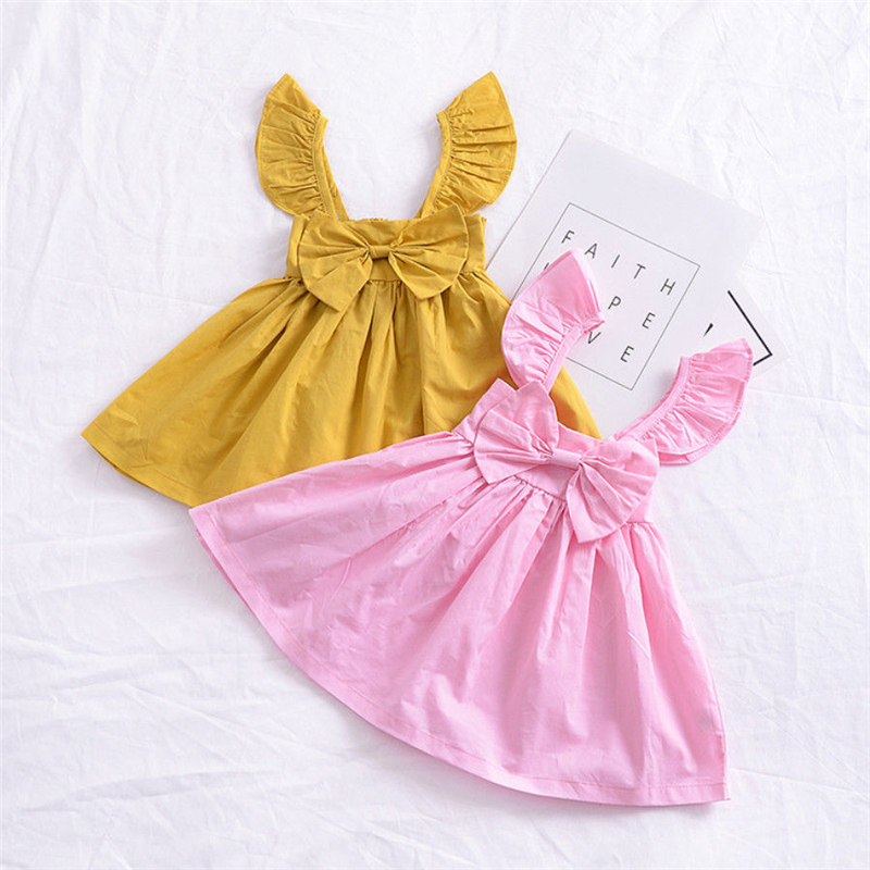 Ropa de verano bebé infante para niñas, trajes de tirantes de hombro de Vestido de princesa lazo sólido, ropa para niños, Vestido