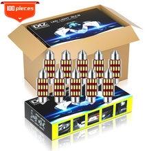 Dxz 100 pces c5w c10w lâmpadas led canbus Festoon-31MM 36mm 39mm 41mm 4014 chip interior do carro luz dome luz de leitura lâmpada auto 12v