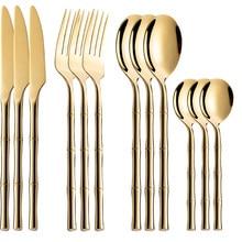 Juego de cubiertos de acero inoxidable para cocina, Set de cubiertos de color dorado y Vajilla de cena, cuchara y tenedor completos