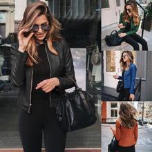 Новая Осенняя женская кожаная куртка на каждый день, на молнии, Байкерская короткое пальто женские классические черного и красного цвета в ...