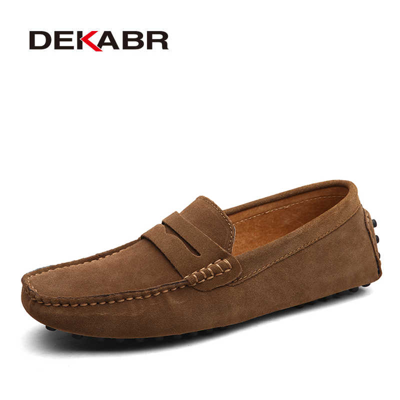 DEKABR Large Size 50 Men Loafers Soft Moccasins High Quality Spring Autumn Genuine Leather Shoes Men Warm Flats Driving Shoes
